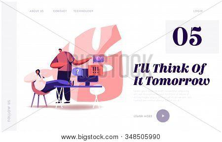 Procrastination Website Landing Page. Boss Yelling On Procrastinating Lazy Businesswoman Employee Sl