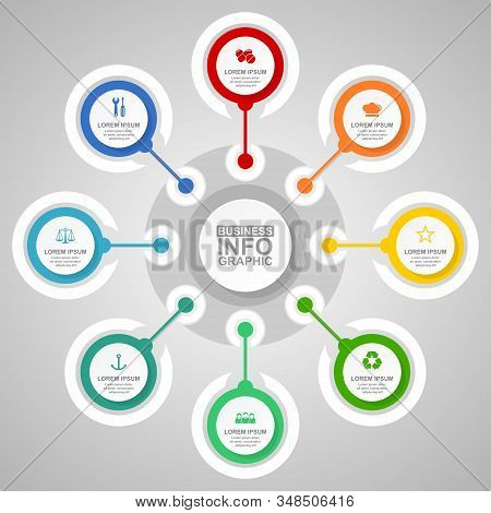Business Infographic Vector Template, Technology, Law And Medicine Concept Circular Info Graph For P