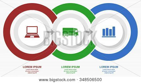 Business, Internet And Transportation Diagram, Flat Design Vector Infographic Template For Web Prese