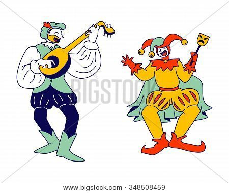 Medieval Characters Minstrel And Buffoon Isolated On White Background. Funny Carnival Show Or Fairy