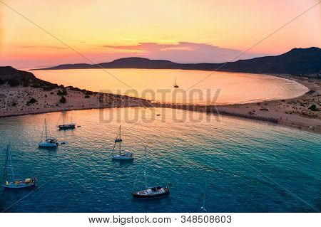 Aerial View Of Simos Beach At Sunset In Elafonisos Island In Greece