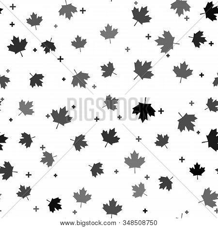 Black Canadian Maple Leaf Icon Isolated Seamless Pattern On White Background. Canada Symbol Maple Le
