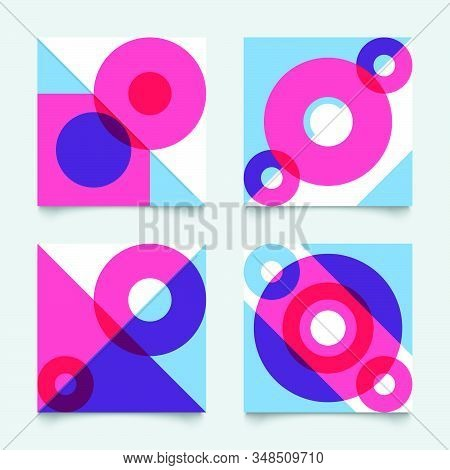 Set Of Geometric Abstract Patterns In Bauhause Style, Modern Shapes Vector Backgrounds