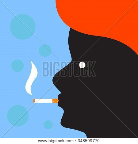 Profile Of Man With Cigarette In Flat Style. Vector Character Illustration. Men Healthcare Concept.