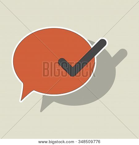 Sticker Check Message Flat Icon. Social, Media, Vector,