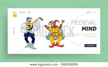 Medieval Characters Minstrel And Buffoon Website Landing Page. Funny Carnival Show Or Fairy Tale Per