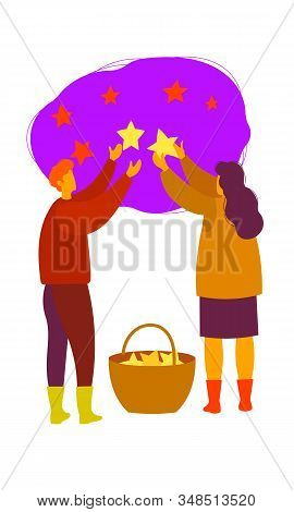 A Man And A Woman Collect Stars From The Sky In A Basket