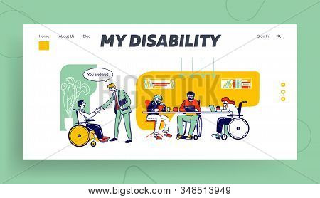 Handicapped People Working In Office Website Landing Page. Disabled Man Shaking Hand With Colleague