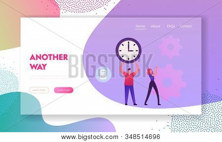 Time Is Money, Loan Refinance And Return On Investment Website Landing Page. Businessman Holding Hug