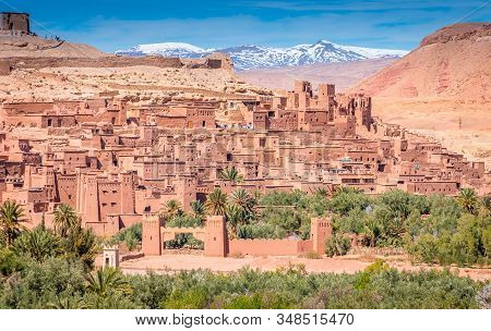 Fortified Village And Clay Houses Of An Ancient Settlement, Ait Benhaddou, Morocco With The Atlas Mo
