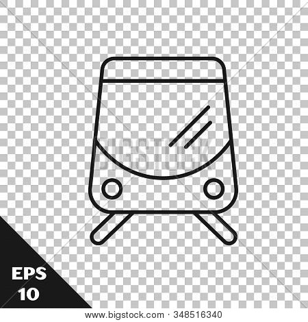 Black Line Tram And Railway Icon Isolated On Transparent Background. Public Transportation Symbol. V