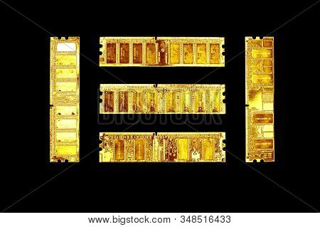 Gold Ddr Sdram Memory Modules Isolated On Black. Ddr Chip Combined On A Module Chipset For Desktop P