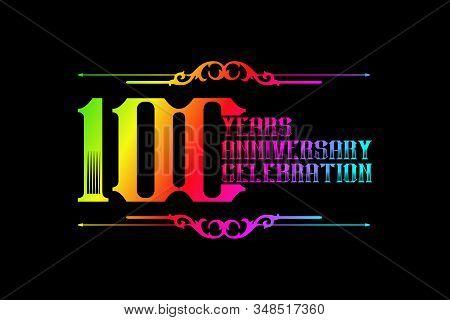 100th Years Anniversary Logo Template, Vector Design Birthday Celebration