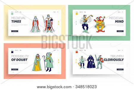 Medieval Historical Characters Website Landing Page Set. Royal Queen And King Couple, Monk Bard Sing
