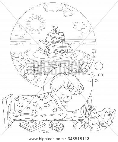 Little Boy Sleeping In His Bed And Dreaming Of A Beautiful Small Toy Ship In Water Of A Sea Beach On