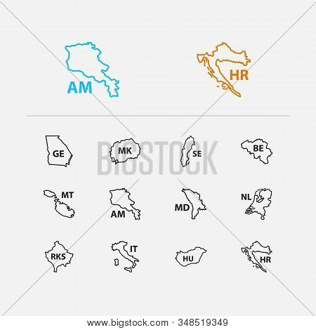 Cartography Icons Set. Sweden And Cartography Icons With North Macedonia, Armenia And Kosovo. Set Of