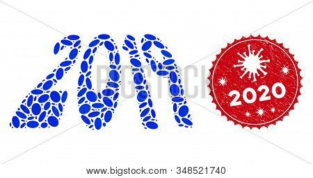Mosaic 2019 Perspective Text Icon And Red Round Rubber Stamp Seal With 2020 Text And Coronavirus Sym