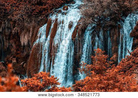 Autumn Gold Kravice Waterfall On The Trebizat River In Bosnia And Herzegovina. Fall  Miracle Of Natu