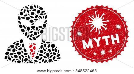 Mosaic Alien Manager Icon And Red Round Rubber Stamp Watermark With Myth Phrase And Coronavirus Symb