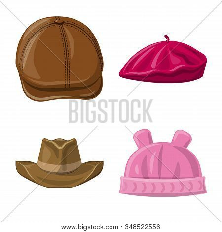 Vector Illustration Of Headgear And Cap Icon. Collection Of Headgear And Accessory Vector Icon For S