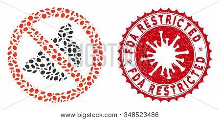 Mosaic Banned Pig Icon And Red Round Corroded Stamp Watermark With Fda Restricted Caption And Corona