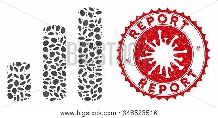 Mosaic Bar Chart Cylinders Icon And Red Rounded Distressed Stamp Seal With Report Text And Coronavir