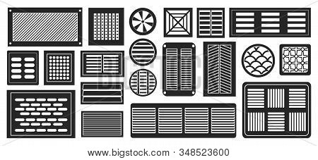 Air Vent Vector Black, Simple Set Icon.vector Illustration Ventilation Grate On White Background .is