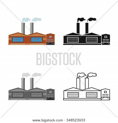 Vector Design Of Manufactory And Fuel Icon. Set Of Manufactory And Oil Stock Vector Illustration.