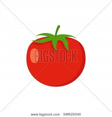 Vector Illstration Of Tomato . Flat Design. Isolated.