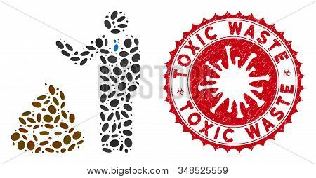Mosaic Businessman Show Ico Shit Icon And Red Rounded Corroded Stamp Watermark With Toxic Waste Phra