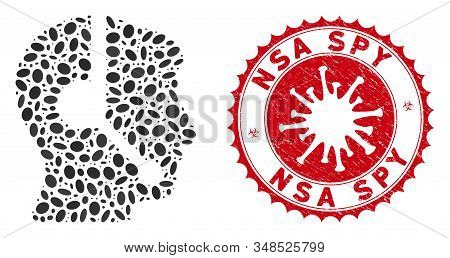 Mosaic call center operator icon and red round rubber stamp seal with NSA Spy phrase and coronavirus symbol. Mosaic vector is formed with call center operator icon and with randomized elliptic spots. poster