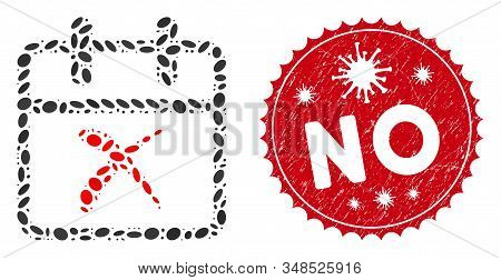 Collage Cancel Day Icon And Red Rounded Distressed Stamp Seal With No Caption And Coronavirus Symbol