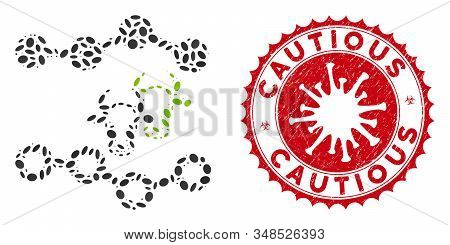 Mosaic Cattle Dotted Charts Icon And Red Rounded Grunge Stamp Seal With Cautious Text And Coronaviru