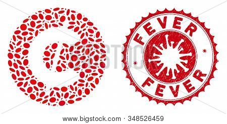 Collage Cent Coin Icon And Red Rounded Grunge Stamp Seal With Fever Text And Coronavirus Symbol. Mos