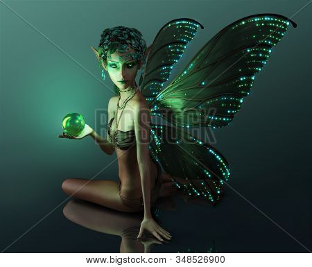 3d Computer Graphics Of A Fairy With Green Headdress, Illuminated Wings And  Sphere