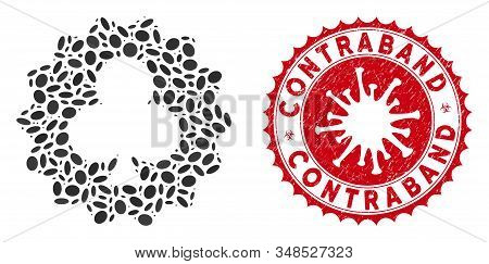 Mosaic Clubs Token Icon And Red Rounded Rubber Stamp Seal With Contraband Text And Coronavirus Symbo
