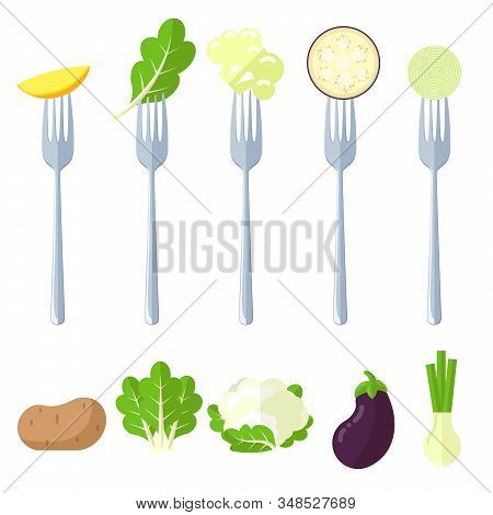 Fresh Juisy Raw Vegetables On The Forks, Diet Healthy Eating Vegetarian Vector Concept. Potatoes, Le