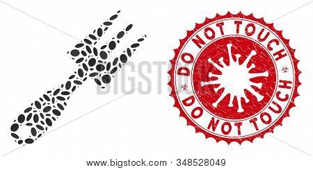 Mosaic Cultivator Rake Icon And Red Rounded Grunge Stamp Watermark With Do Not Touch Text And Corona