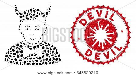 Mosaic Devil Icon And Red Round Rubber Stamp Seal With Devil Caption And Coronavirus Symbol. Mosaic