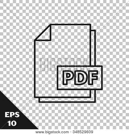 Black Line Pdf File Document. Download Pdf Button Icon Isolated On Transparent Background. Pdf File
