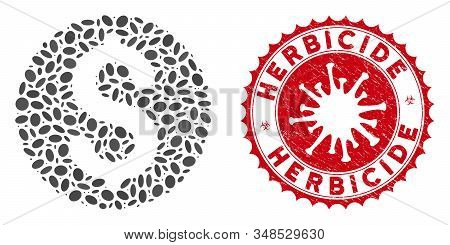 Collage Dollar Coin Icon And Red Rounded Rubber Stamp Seal With Herbicide Text And Coronavirus Symbo