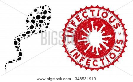Collage Infectious Icon And Red Rounded Grunge Stamp Watermark With Infectious Caption And Coronavir