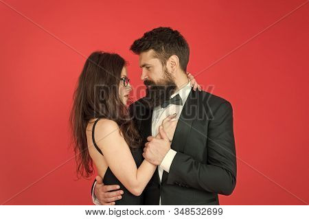 We Are Together. Couple In Love Red Background. Loving Couple Hug In Formal Wear. Married Couple Cel
