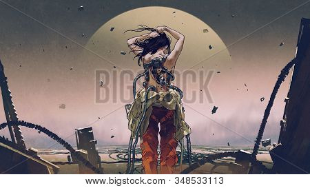 Scifi Concept Showing Back View Of Futuristic Woman Wearing A Spacesuit, Digital Art Style, Illustra