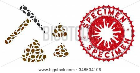 Mosaic Shit Mining Icon And Red Rounded Corroded Stamp Seal With Specimen Caption And Coronavirus Sy