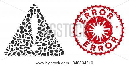 Mosaic Warning Error Icon And Red Round Distressed Stamp Seal With Error Phrase And Coronavirus Symb