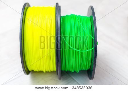 Plastic For 3d Printer Yellow  And Green Colors. Material
