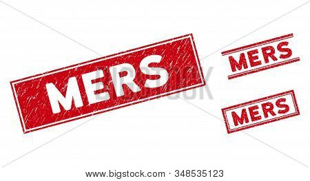 Mers Seals. Red Vector Rectangular Distress Stamp Imprints With Mers Message. Designed For Rubber Im