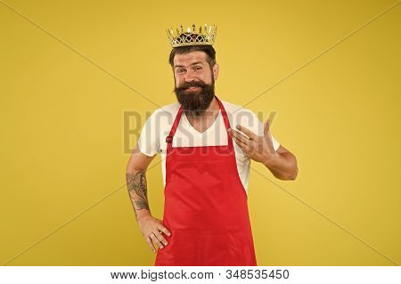 Royal Recipe. Man King Cook Wear Cooking Apron And Golden Crown. Kitchen Is My Kingdom. Ideas And Ti