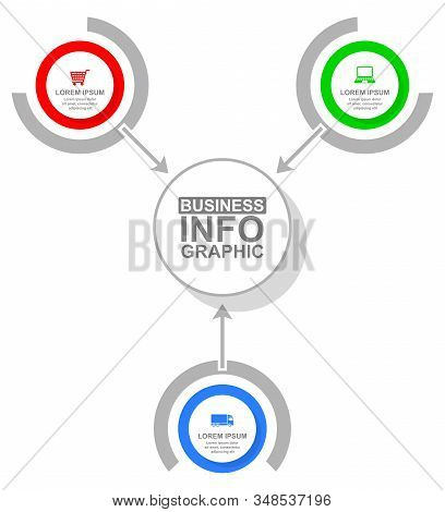 Business Vector Diagram, Flat Design Circular Infographic Template, Web Presentation In 3 Options